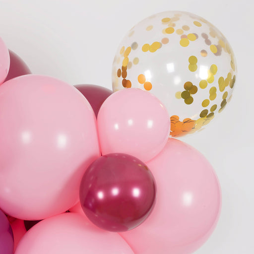 Bubblegum Pink, Burgundy and Mauve Balloon Arch and Garland Kit (5, 10, 16 foot) - Shimmer & Confetti
