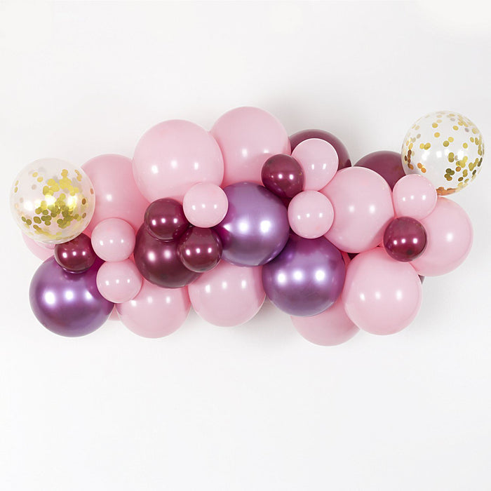 Bubblegum Pink, Burgundy and Mauve Balloon Arch and Garland Kit (5, 10, 16 foot) balloon arch and garland shimmer and confetti balloons unicorn baby shower bridal shower party supplies birthday decoration first