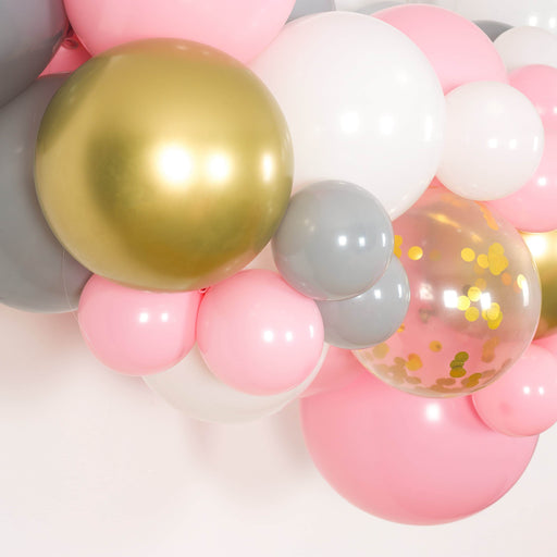 Bubblegum Pink, White, Gray and Gold Balloon Arch and Garland Kit (5, 10, 16 foot) balloon arch and garland shimmer and confetti balloons unicorn baby shower bridal shower party supplies birthday decoration first