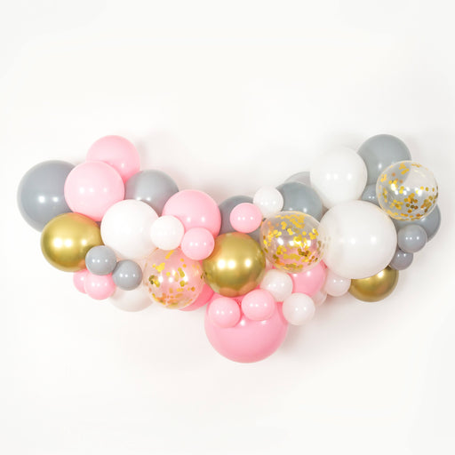 Bubblegum Pink, White, Gray and Gold Balloon Arch and Garland Kit (5, 10, 16 foot) - Shimmer & Confetti