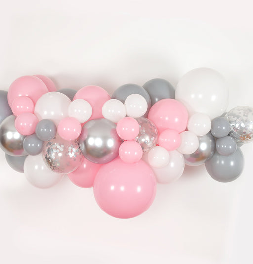 Bubblegum Pink, White, Gray and Silver Balloon Arch and Garland Kit (5, 10, 16 foot) - Shimmer & Confetti