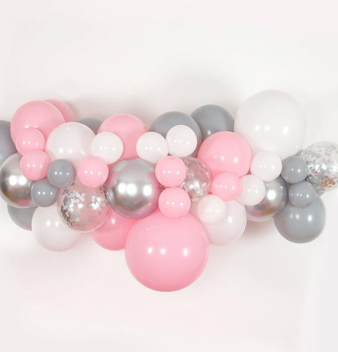 Bubblegum Pink, White, Gray and Silver Balloon Arch and Garland Kit (5, 10, 16 foot) balloon arch and garland shimmer and confetti balloons unicorn baby shower bridal shower party supplies birthday decoration first