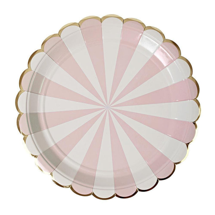 Dusty Pink Fan Stripe Dinner Plates 12ct balloon arch and garland shimmer and confetti balloons unicorn baby shower bridal shower party supplies birthday decoration first