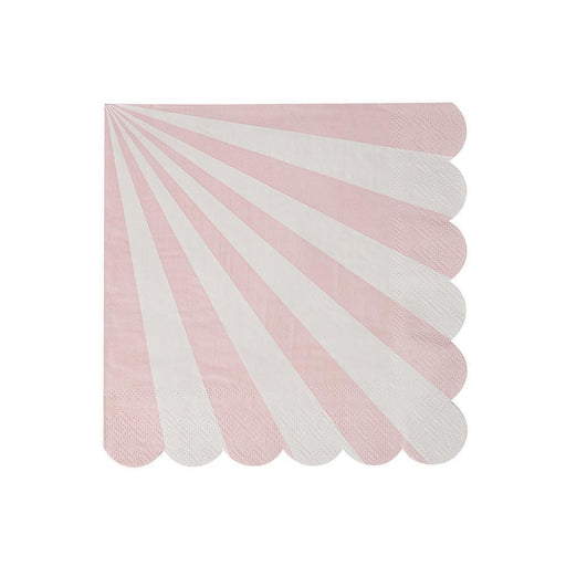 Dusty Pink Fan Stripe Party Napkins 12ct - Shimmer & Confetti