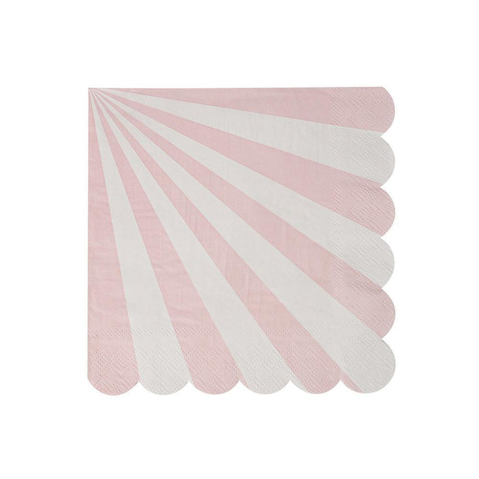 Dusty Pink Fan Stripe Party Napkins 12ct balloon arch and garland shimmer and confetti balloons unicorn baby shower bridal shower party supplies birthday decoration first