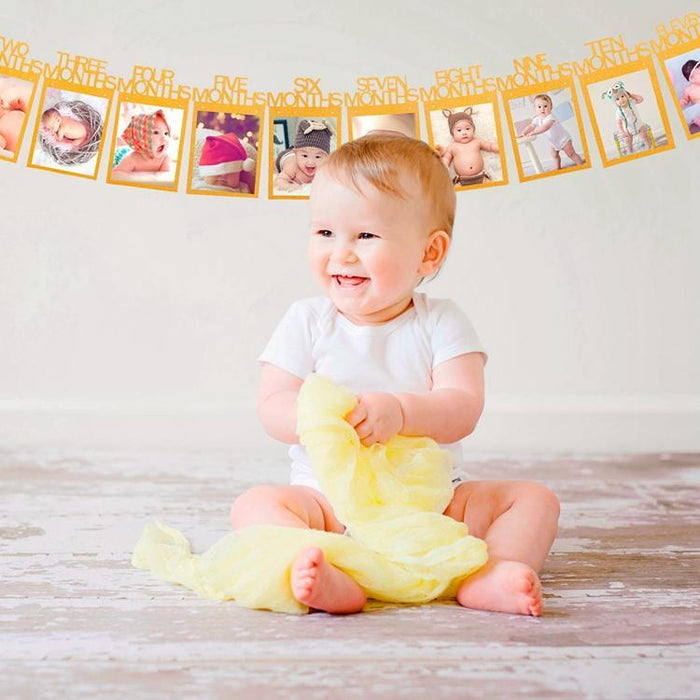 First Birthday Photo Banner - Gold balloon arch and garland shimmer and confetti balloons unicorn baby shower bridal shower party supplies birthday decoration first