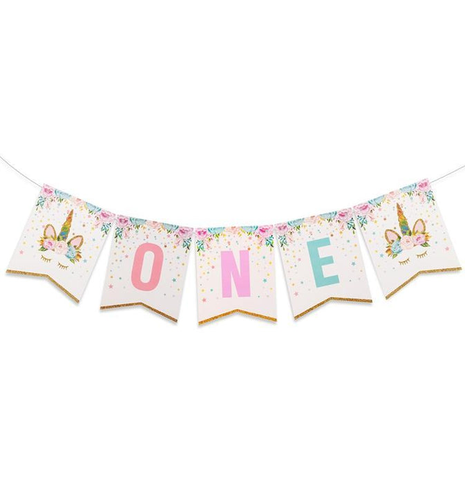 First Birthday Unicorn Banner balloon arch and garland shimmer and confetti balloons unicorn baby shower bridal shower party supplies birthday decoration first