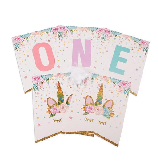 First Birthday Unicorn Banner - Shimmer & Confetti