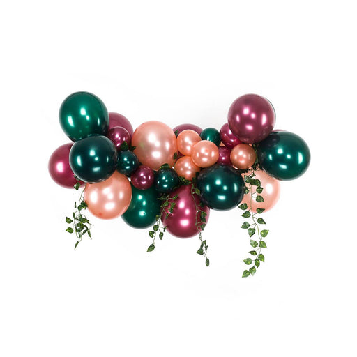 Forest Green, Burgundy and Rose Gold Balloon Arch and Garland Kit with Ivy Leaves (5, 10, 16 foot) - Shimmer & Confetti