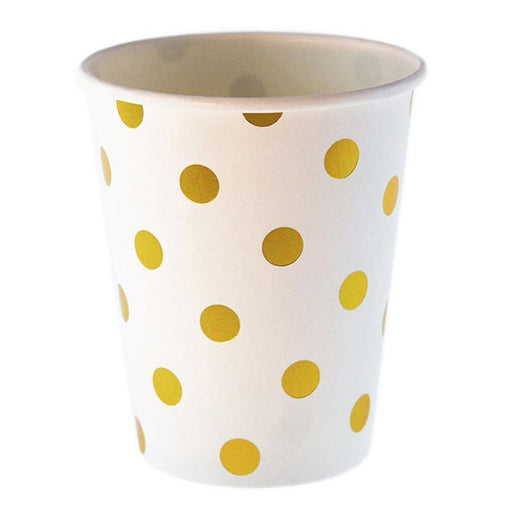 Gold Polka Dot Party Cups 12ct - Shimmer & Confetti