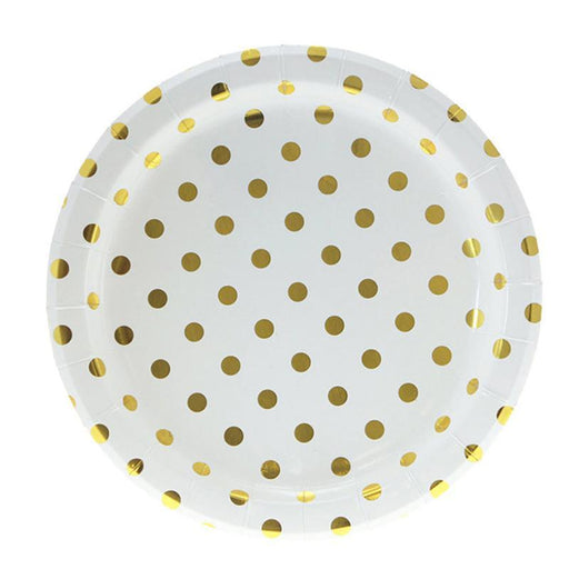 Gold Polka Dot Plates 12ct balloon arch and garland shimmer and confetti balloons unicorn baby shower bridal shower party supplies birthday decoration first