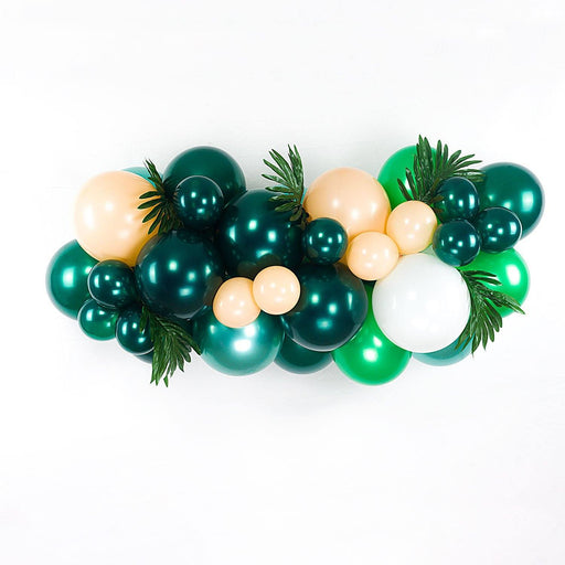 Green, Peach and White Wild One Jungle Safari Balloon Arch and Garland Kit (5, 10, 16 foot) balloon arch and garland shimmer and confetti balloons unicorn baby shower bridal shower party supplies birthday decoration first