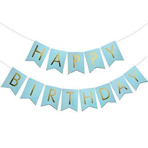 Happy Birthday Banner - Blue balloon arch and garland shimmer and confetti balloons unicorn baby shower bridal shower party supplies birthday decoration first
