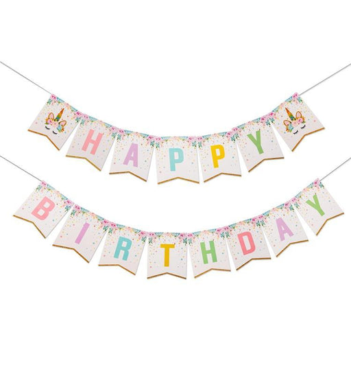 Happy Birthday Unicorn Banner - Shimmer & Confetti