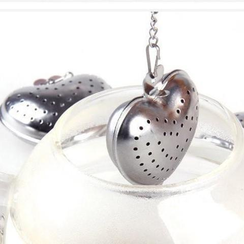 Heart-Shaped Tea Strainer in Organza Bag - Shimmer & Confetti