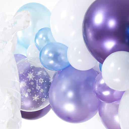 Ice Princess Balloon Arch and Garland Kit (5, 10, 16 foot) - Shimmer & Confetti