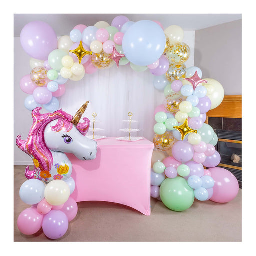 pastel balloon garland shimmer and confetti