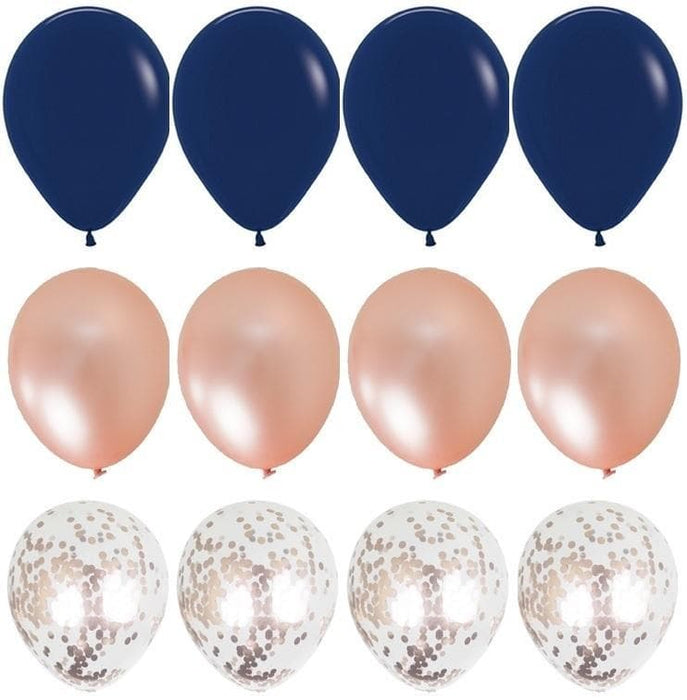 Navy Blue and Rose Gold Balloon Bouquet - 24ct balloon arch and garland shimmer and confetti balloons unicorn baby shower bridal shower party supplies birthday decoration first