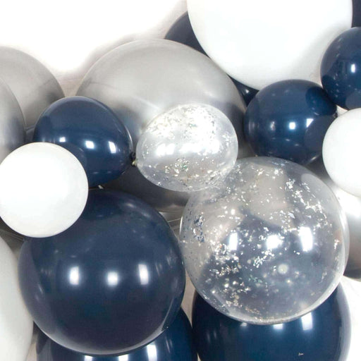 Navy Blue and Silver Balloon Arch and Garland Kit (5, 10, 16 foot) - Shimmer & Confetti