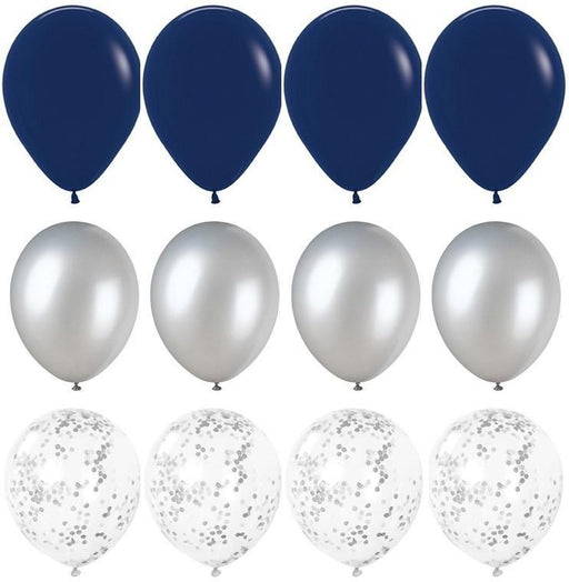 Navy Blue and Silver Balloon Bouquet - 24ct balloon arch and garland shimmer and confetti balloons unicorn baby shower bridal shower party supplies birthday decoration first