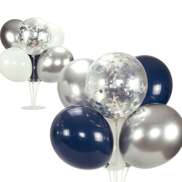 Navy Blue and Silver Balloon Bouquet - 50ct balloon arch and garland shimmer and confetti balloons unicorn baby shower bridal shower party supplies birthday decoration first