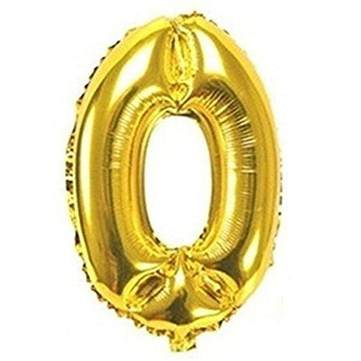 Number 0 Foil Birthday Balloon - Gold - Shimmer & Confetti