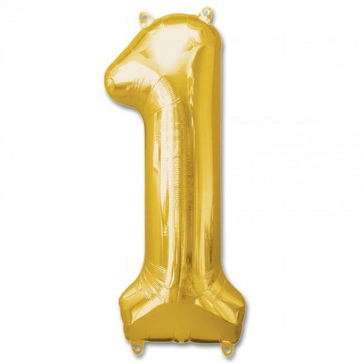 Number 1 Foil Birthday Balloon - Gold - Shimmer & Confetti