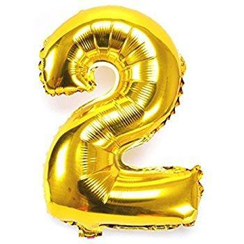 Number 2 Foil Birthday Balloon - Gold - Shimmer & Confetti