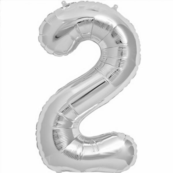 Number 2 Foil Birthday Balloon - Silver - Shimmer & Confetti