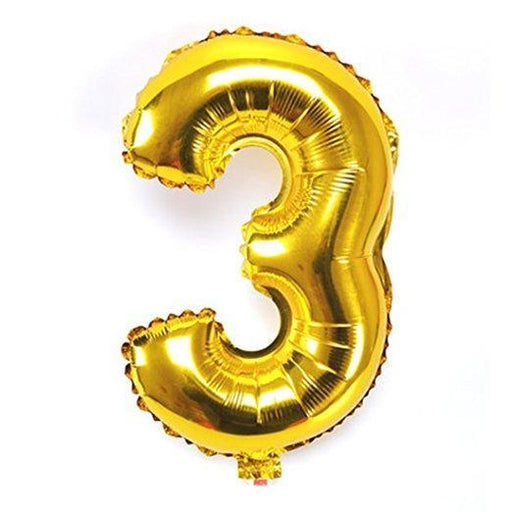 Number 3 Foil Birthday Balloon - Gold - Shimmer & Confetti