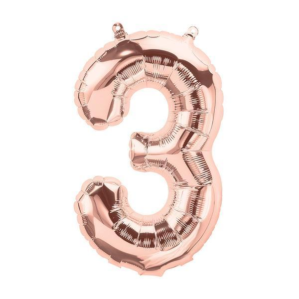 Number 3 Foil Birthday Balloon - Rose Gold - Shimmer & Confetti