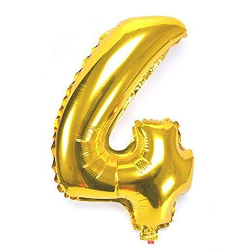Number 4 Foil Birthday Balloon - Gold - Shimmer & Confetti