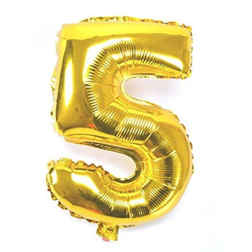 Number 5 Foil Birthday Balloon - Gold - Shimmer & Confetti