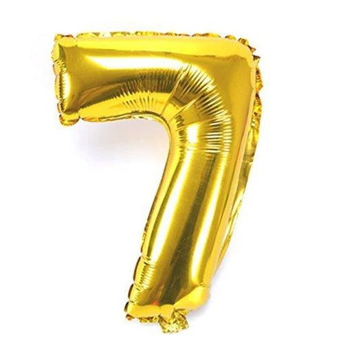 Number 7 Foil Birthday Balloon - Gold - Shimmer & Confetti