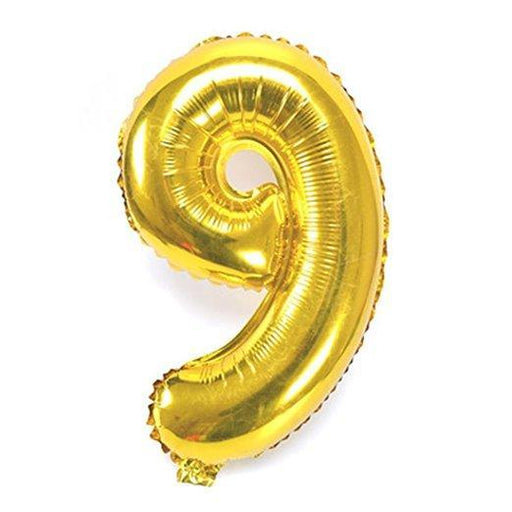 Number 9 Foil Birthday Balloon - Gold - Shimmer & Confetti
