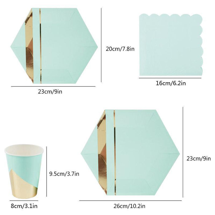 Pastel Mint and Gold Party Cups 12ct balloon arch and garland shimmer and confetti balloons unicorn baby shower bridal shower party supplies birthday decoration first