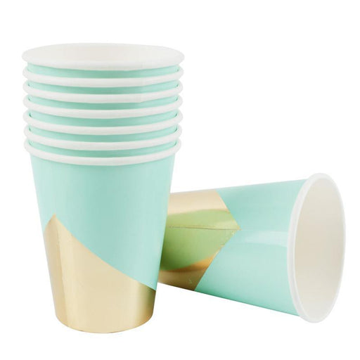 Pastel Mint and Gold Party Cups 12ct - Shimmer & Confetti