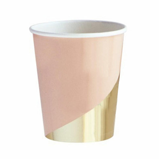 Pastel Pink and Gold Party Cups 12ct - Shimmer & Confetti