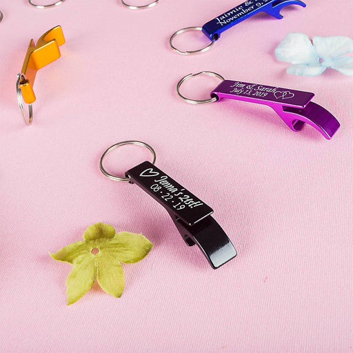 Personalized Bottle Opener Key Chain balloon arch and garland shimmer and confetti balloons unicorn baby shower bridal shower party supplies birthday decoration first