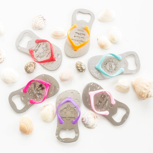 Personalized Engraved Flip-Flop Bottle Openers - Shimmer & Confetti