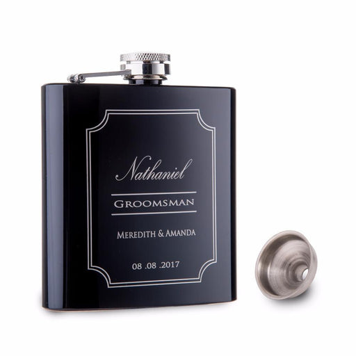 Personalized Groomsman Stainless Steel Hip Flask - 4oz - Shimmer & Confetti