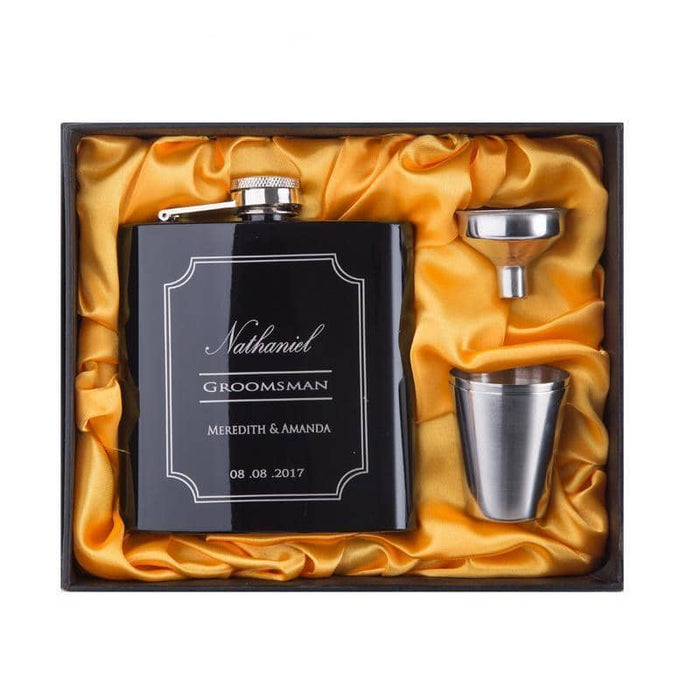 Personalized Groomsman Stainless Steel Hip Flask Set - 6oz Party Favors Shimmer and Confetti