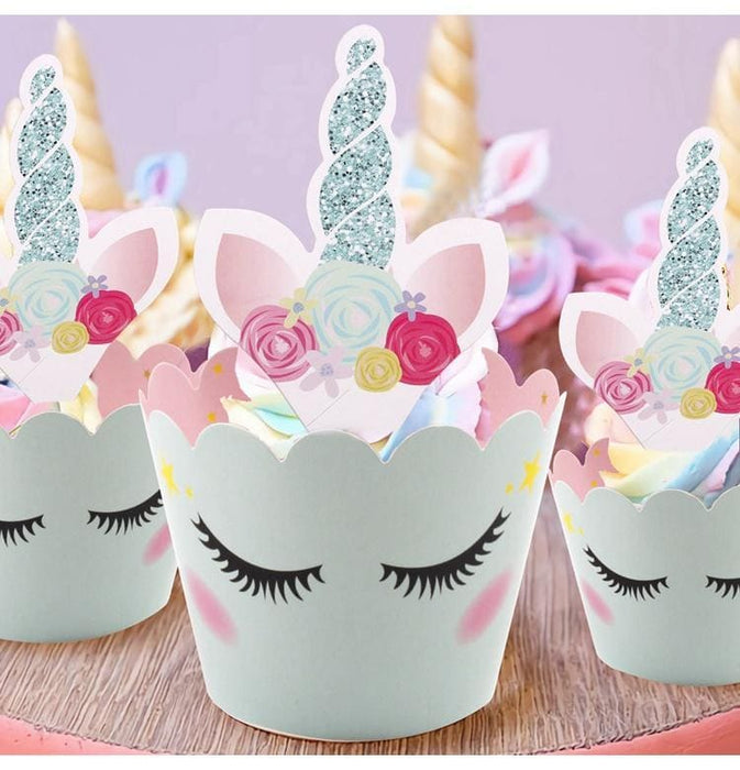 Pink and Blue Unicorn Party Cupcake Decorating Set 24ct balloon arch and garland shimmer and confetti balloons unicorn baby shower bridal shower party supplies birthday decoration first