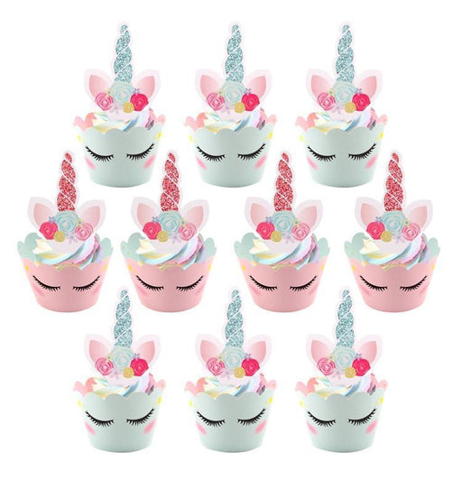 Pink and Blue Unicorn Party Cupcake Decorating Set 24ct - Shimmer & Confetti