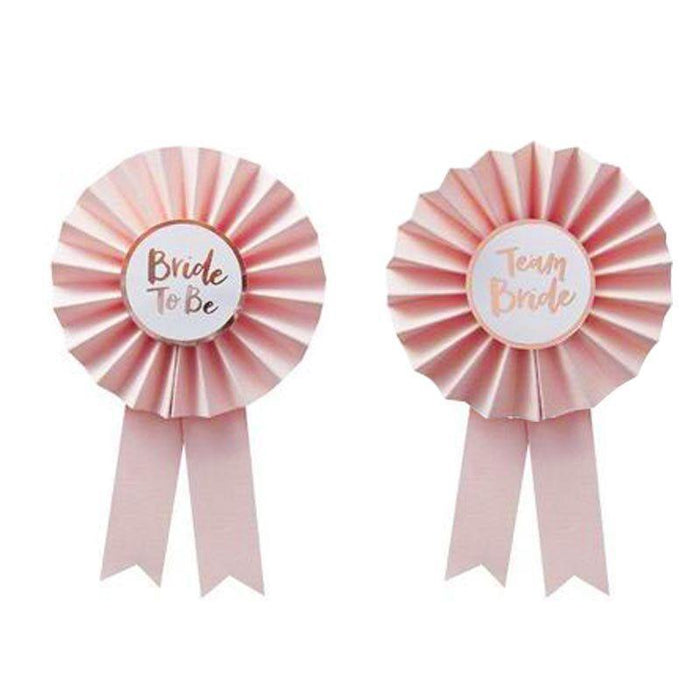 Pink and Rose Gold Bridal Shower Badges - Team Bride - Shimmer & Confetti