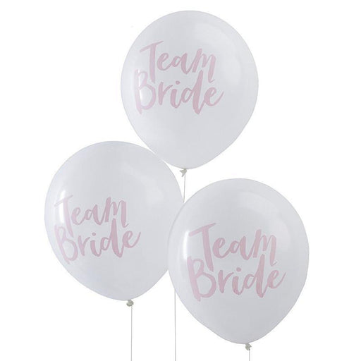 "Pink and White ""Team Bride"" Balloons - Shimmer & Confetti"