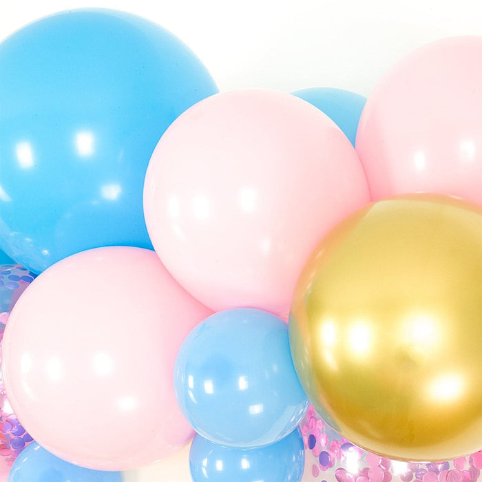 Pink, Blue, Ivory and Gold Gender Reveal Balloon Arch and Garland Kit (5, 10, 16 foot) - Shimmer & Confetti