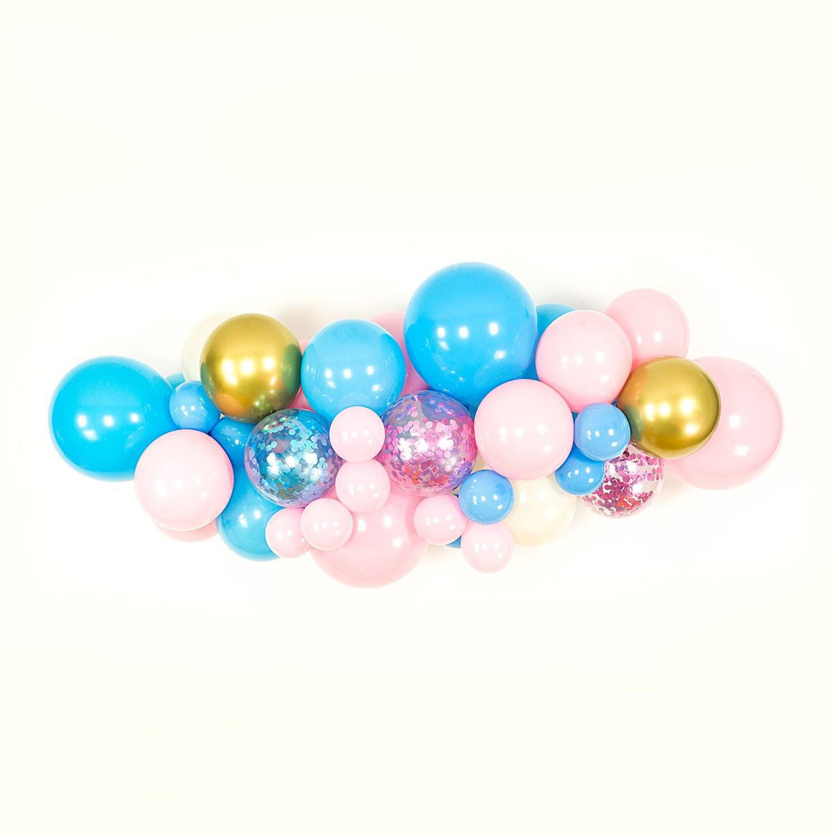 Pink Blue Ivory And Gold Gender Reveal Balloon Arch And Garland Kit Shimmer Confetti