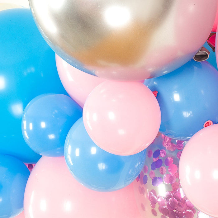 Pink, Blue, Ivory and Silver Gender Reveal Balloon Arch and Garland Kit (5, 10, 16 foot) - Shimmer & Confetti