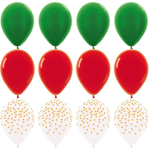 Red Green and Gold Balloon Bouquet balloon arch and garland shimmer and confetti balloons unicorn baby shower bridal shower party supplies birthday decoration first